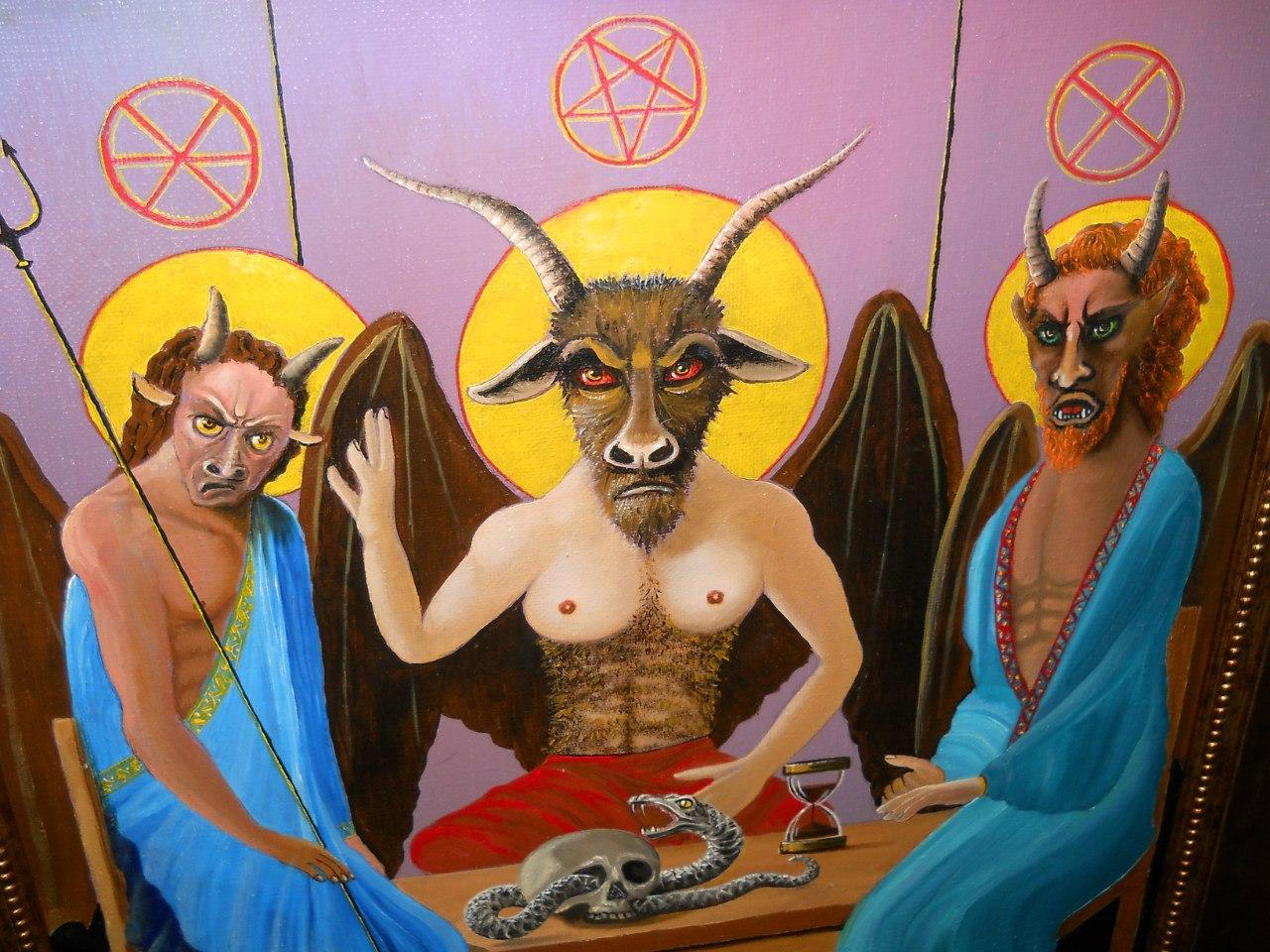 """""""Адова Троица"""", нарисованная последователями Церкви Сатаны"""