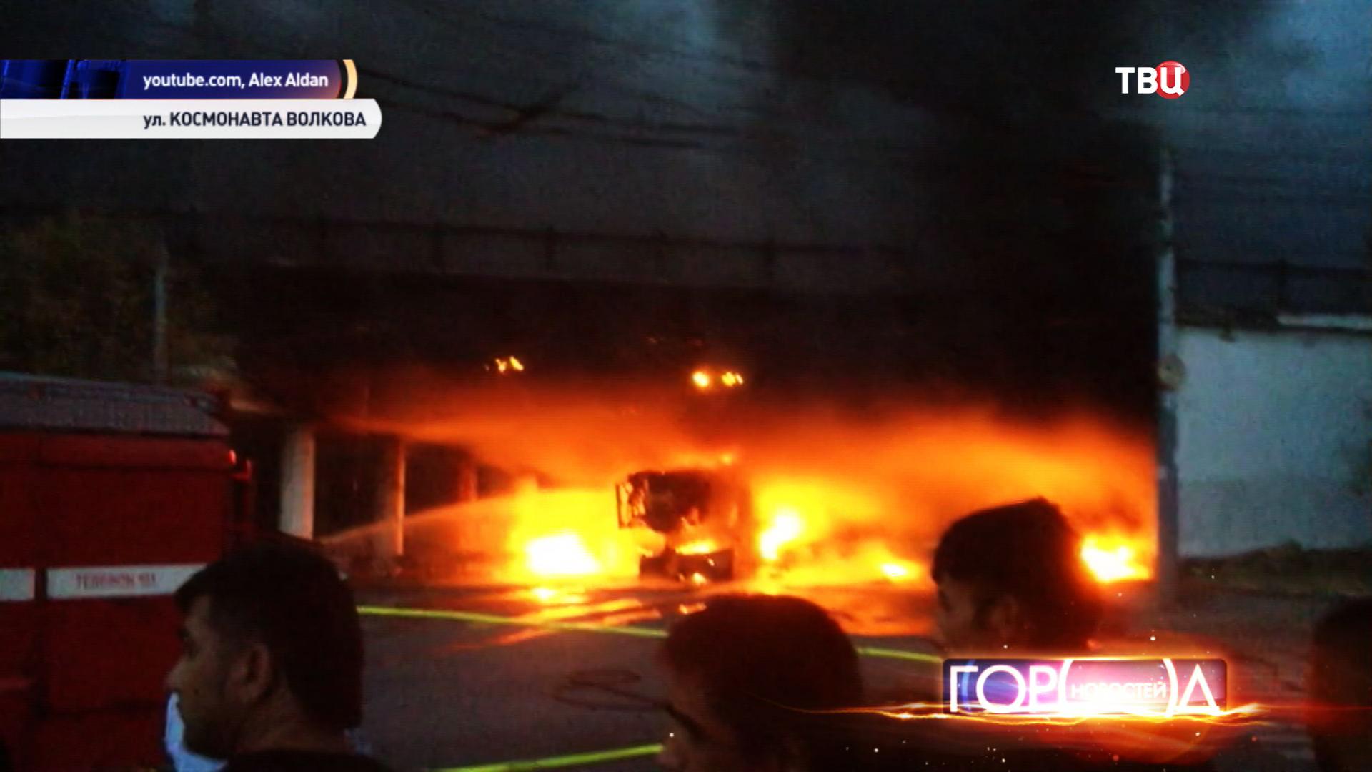 Возгорание строительного крана на Ленинградском шоссе