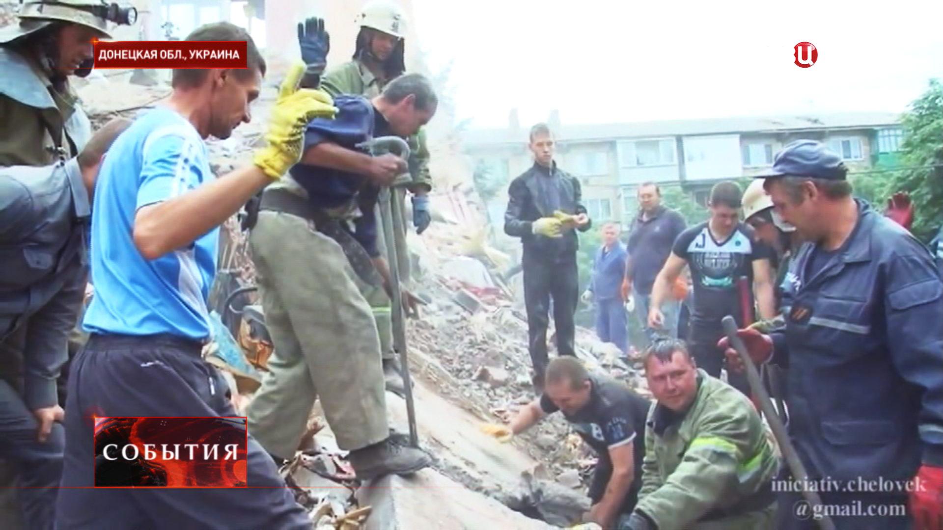 Спасение мальчика Богдана из под завала после бомбёжки