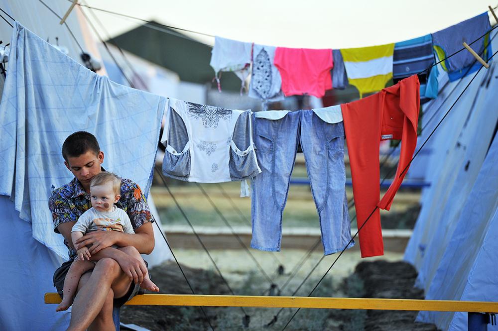Пункт временного размещения украинских беженцев в Ростовской области