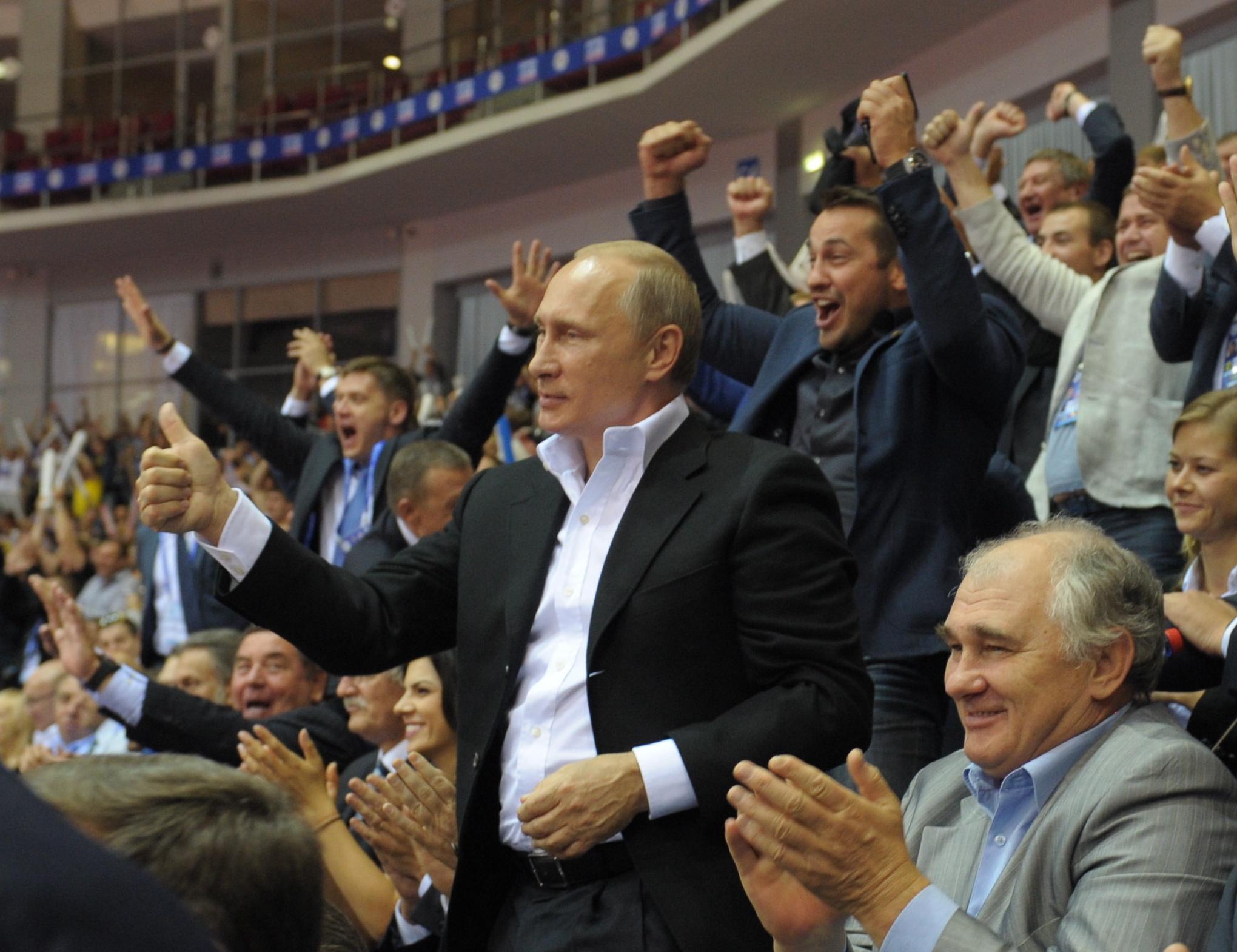 Президент РФ Владимир Путин во время церемонии закрытия чемпионата мира по дзюдо-2014.