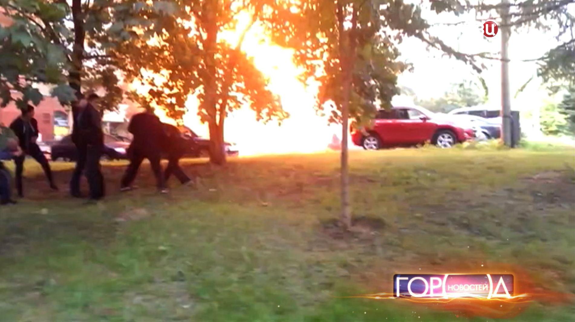 Взрыв машин в Москве