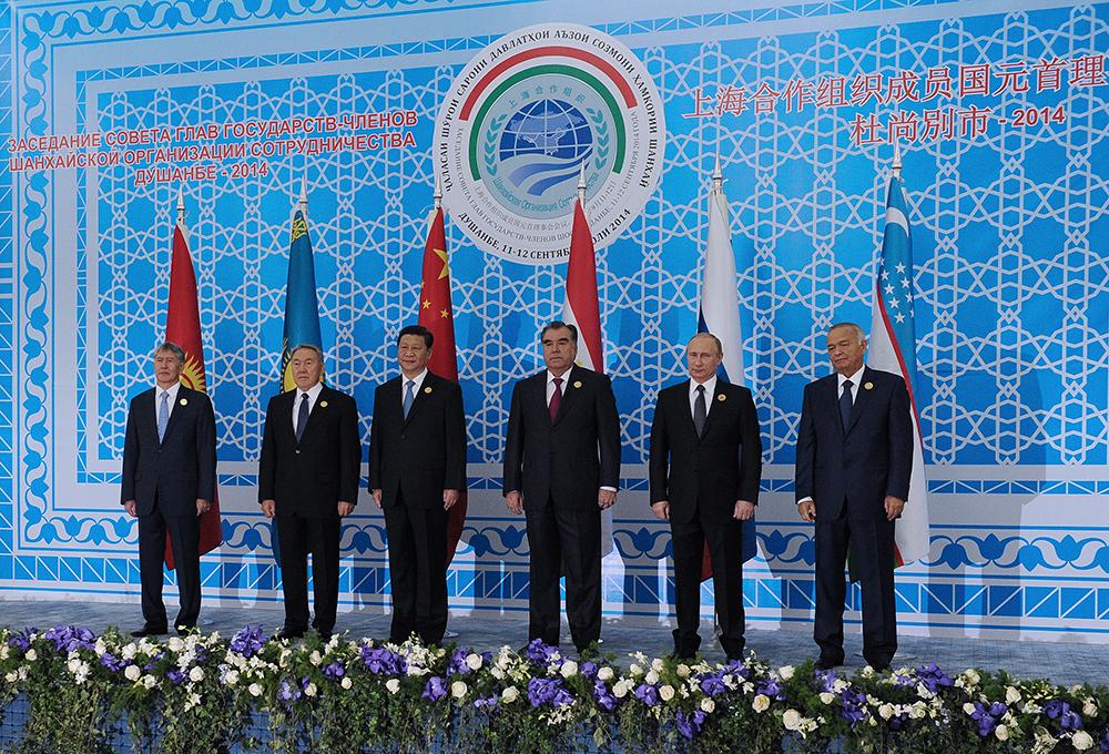 Главы государств на саммите ШОС в Душанбе