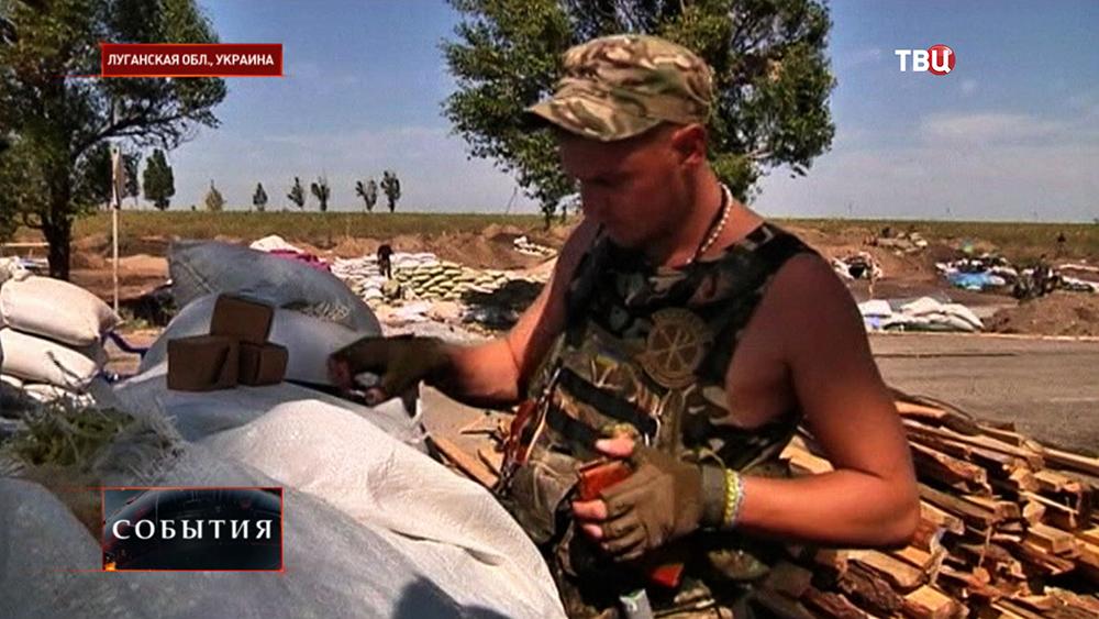 Укранские солдаты в Луганской области