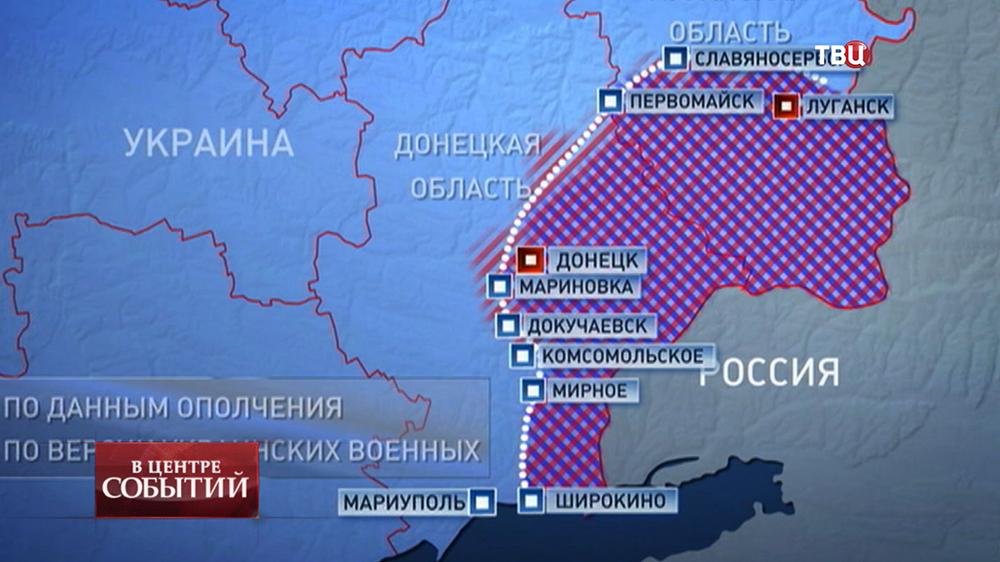 Инфографика границы фронта на юго-востоке Украины