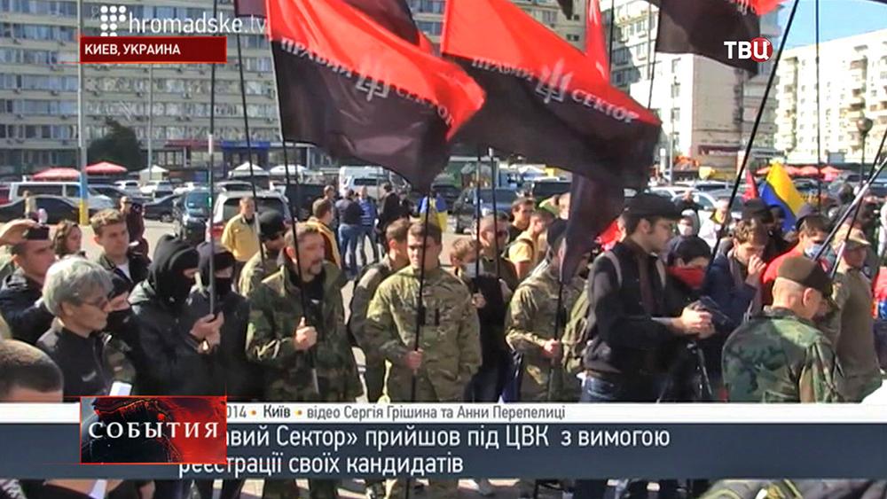 """Митинг радикалов """"Правого сектора"""" у здания ЦИК Украины"""
