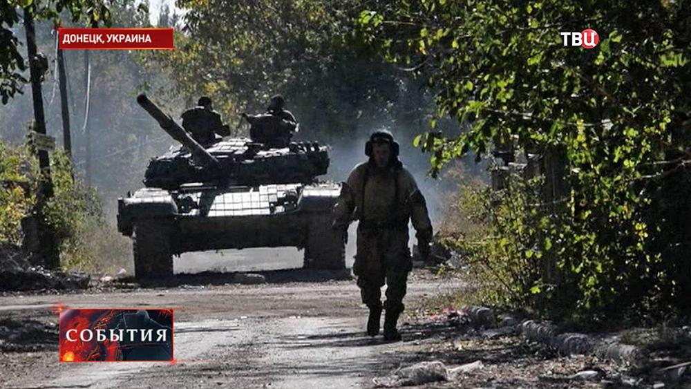 Бойцы народного ополчения Новороссии в Донецке