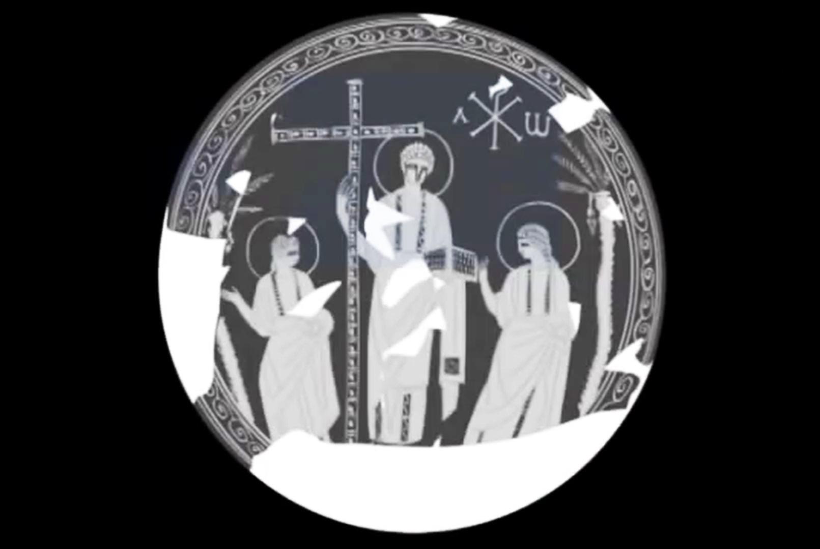 Гравюра c изображением Христа в сопровождении двух апостолов