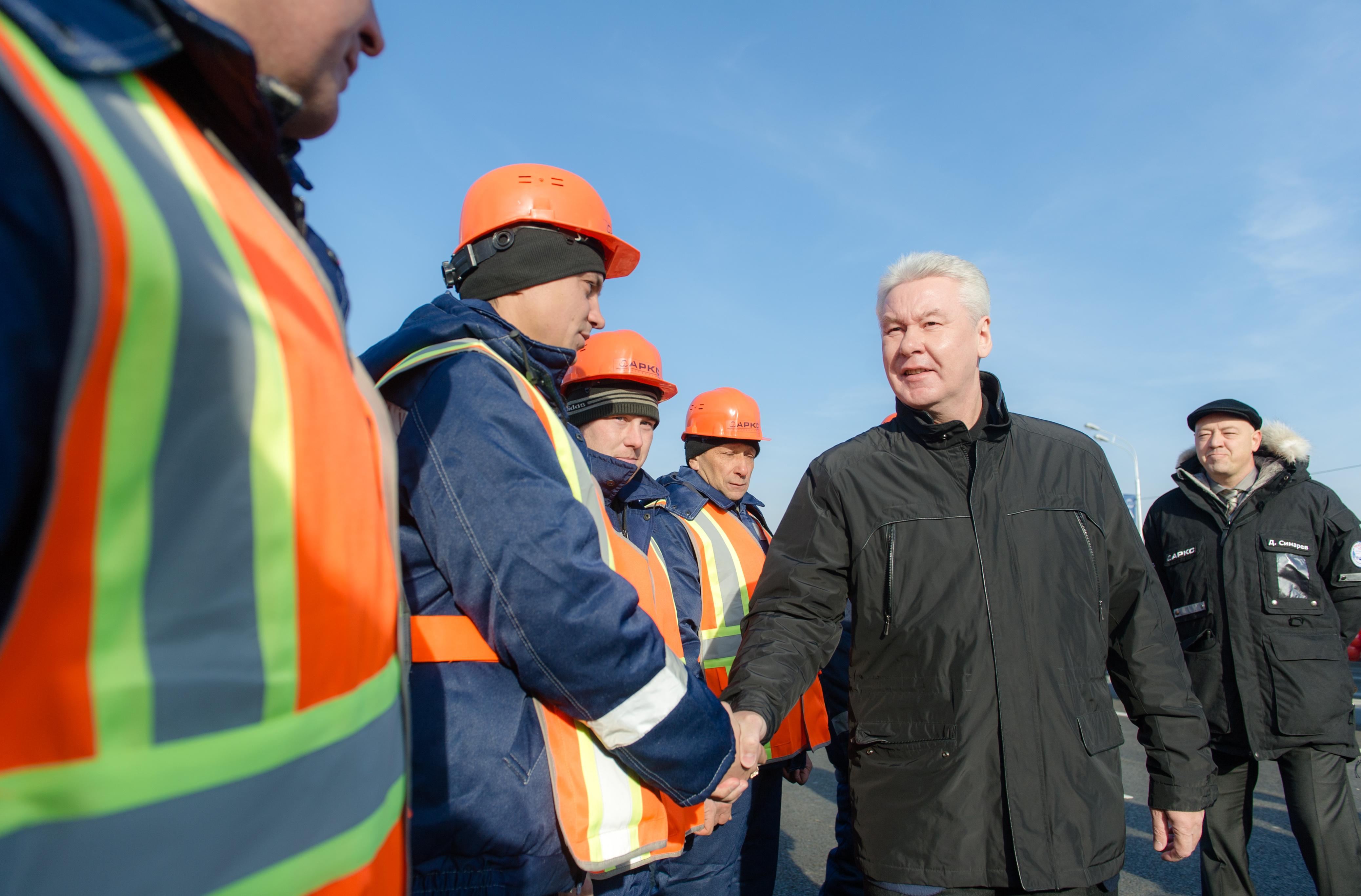 Мэр Москвы Сергей Собянин во время запуска движения по новой транзитной эстакаде