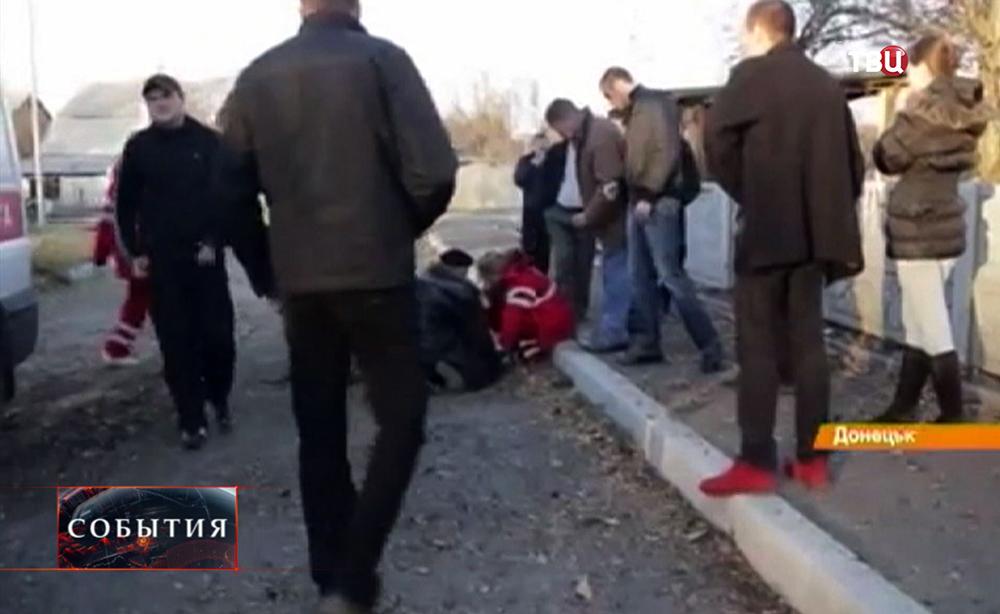 Пострадавший при обстреле Донецка