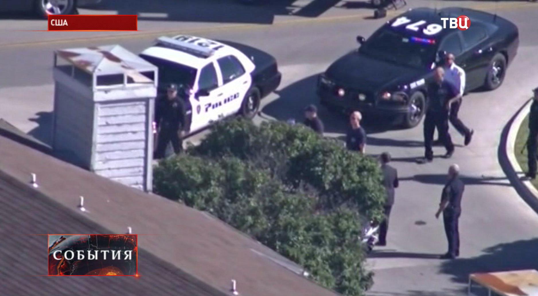 Полиция на месте захвата заложников в офисном здании