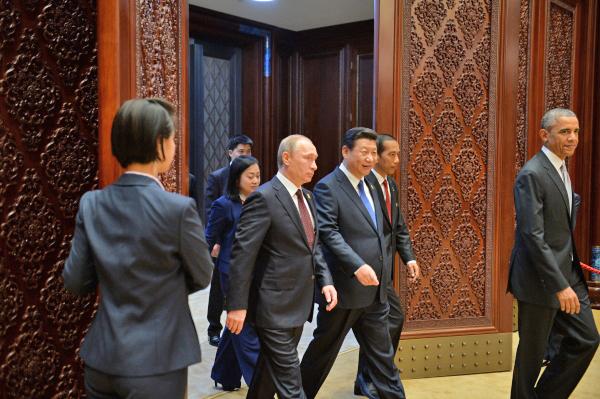 Президент России Владимир Путин, президент США Барак Обама и председатель КНР Си Цзиньпин