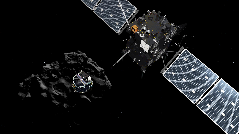 Посадка спускаемого модуля на поверхность кометы