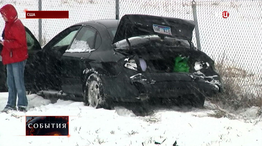 Снегопад в США привел к ДТП