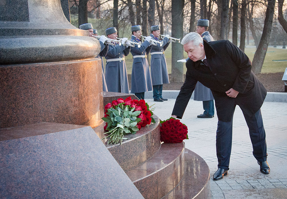 Сергей Собянин на церемонии открытия памятника Александру I