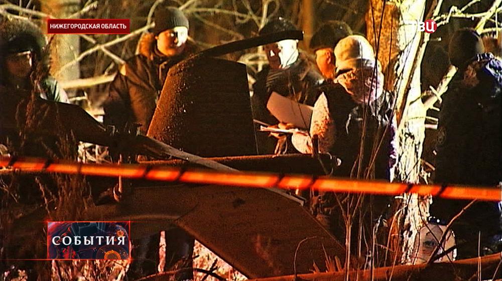 На месте крушения вертолета в Нижегородской области