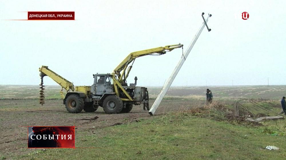 Ремонт линии электропередач в Донецкой области