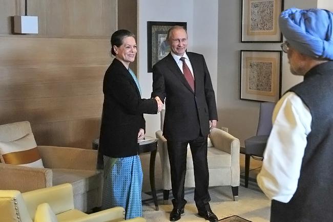 Владимир Путин встретился с Председателем партии «Индийский национальный конгресс» Соней Ганди