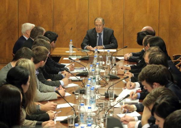 Министр иностранных дел РФ Сергей Лавров во время встречи с участниками фонда поддержки публичной дипломатии