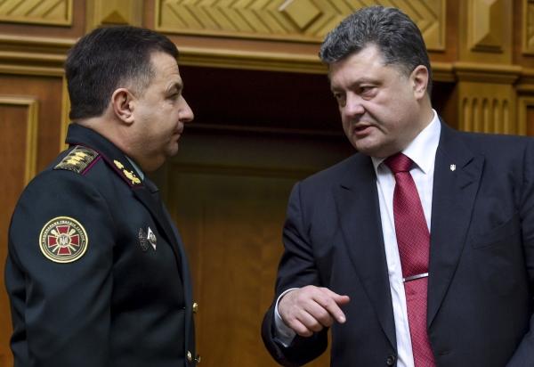 Президент Украины Петр Порошенко и министр обороны Украины генерал-полковник Степан Полторак