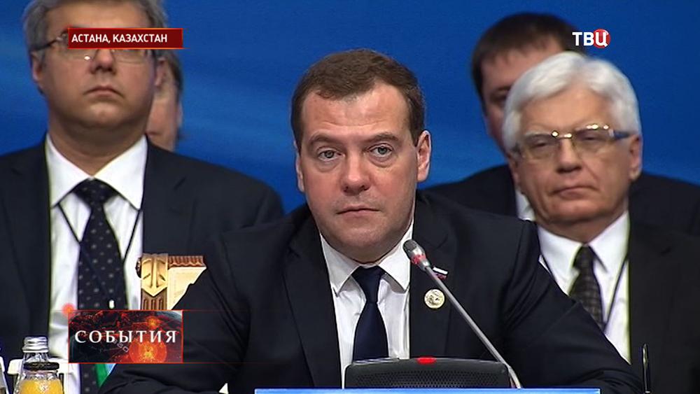 Дмитрий Медведев на  заседании Совета глав правительств ШОС