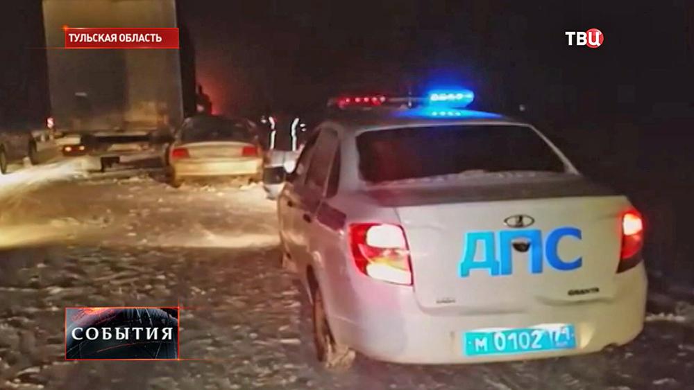 ДПС на месте аварии в Тульской области