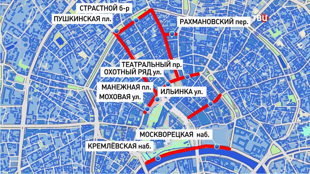Ограничение движения транспорта в новогоднюю ночь в центре Москвы