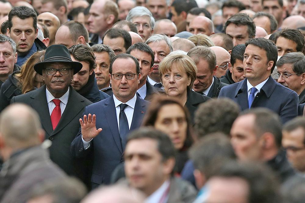 Президент Франции Франсуа Олланд, канцлер Германии Ангела Меркель, итальянский премьер Маттео Ренци