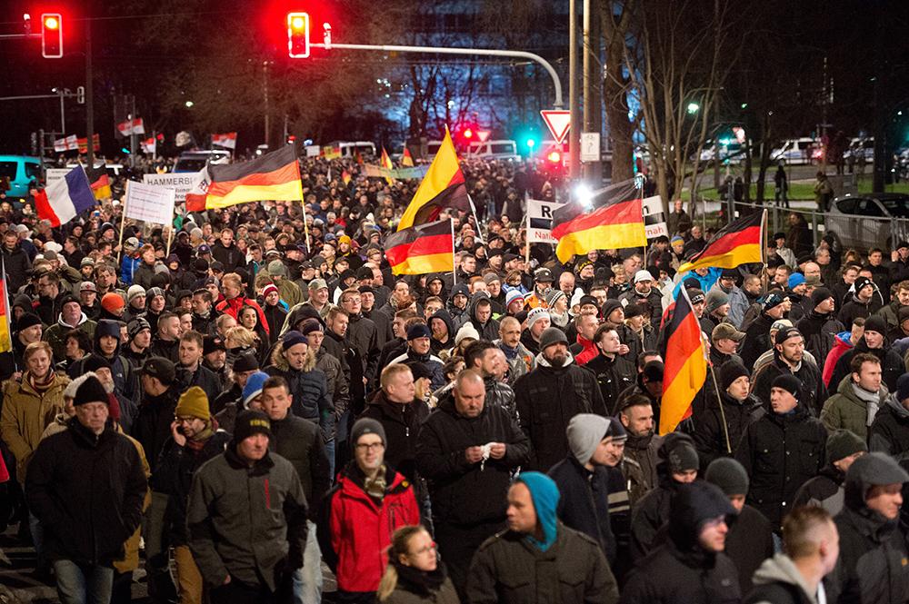 Участник митинга в Германии