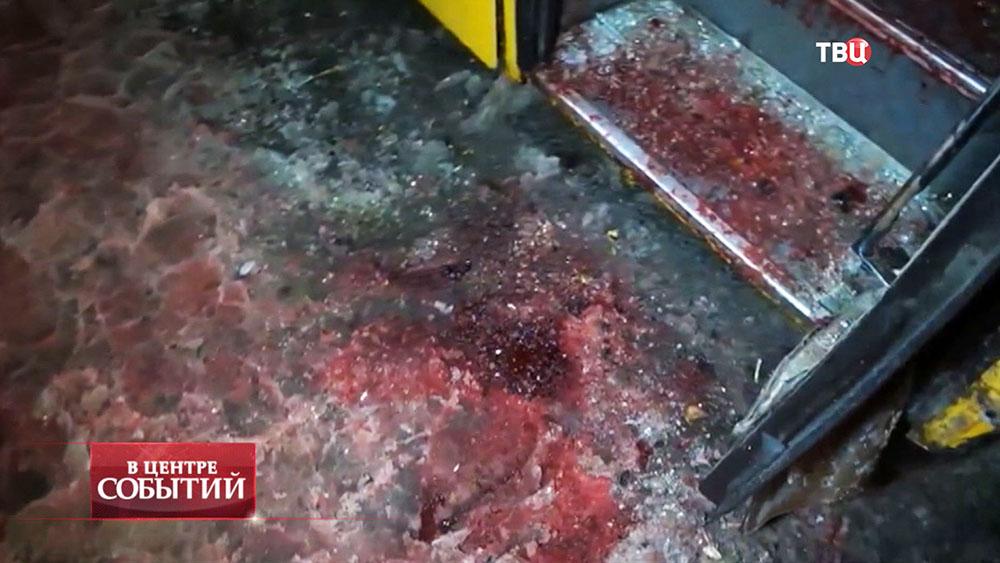 Последствия обстрела автобуса под Волновахой