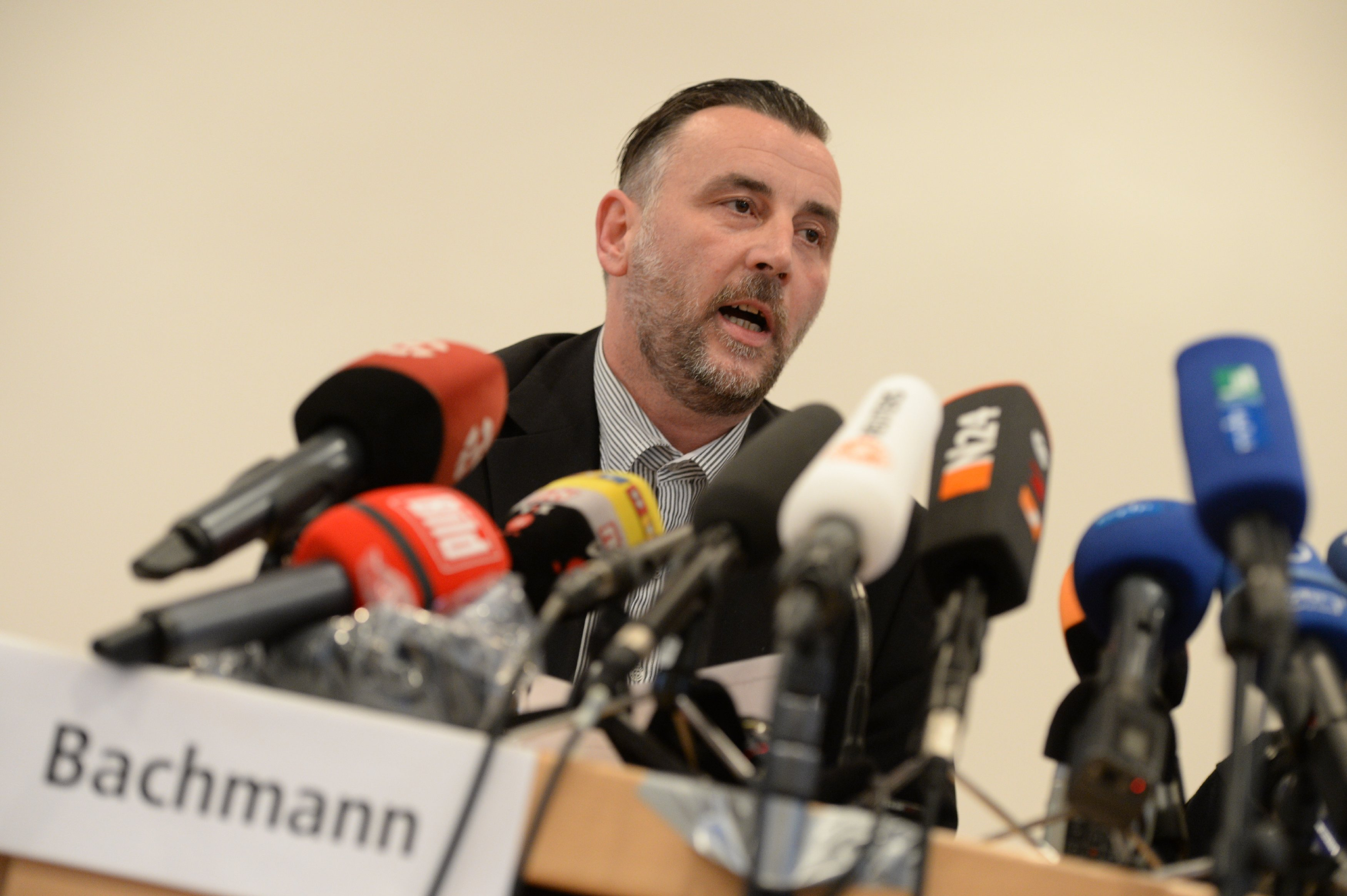 "Активист движения ""ПЕГИДА"" Лутс Бахманн на пресс-конференции"