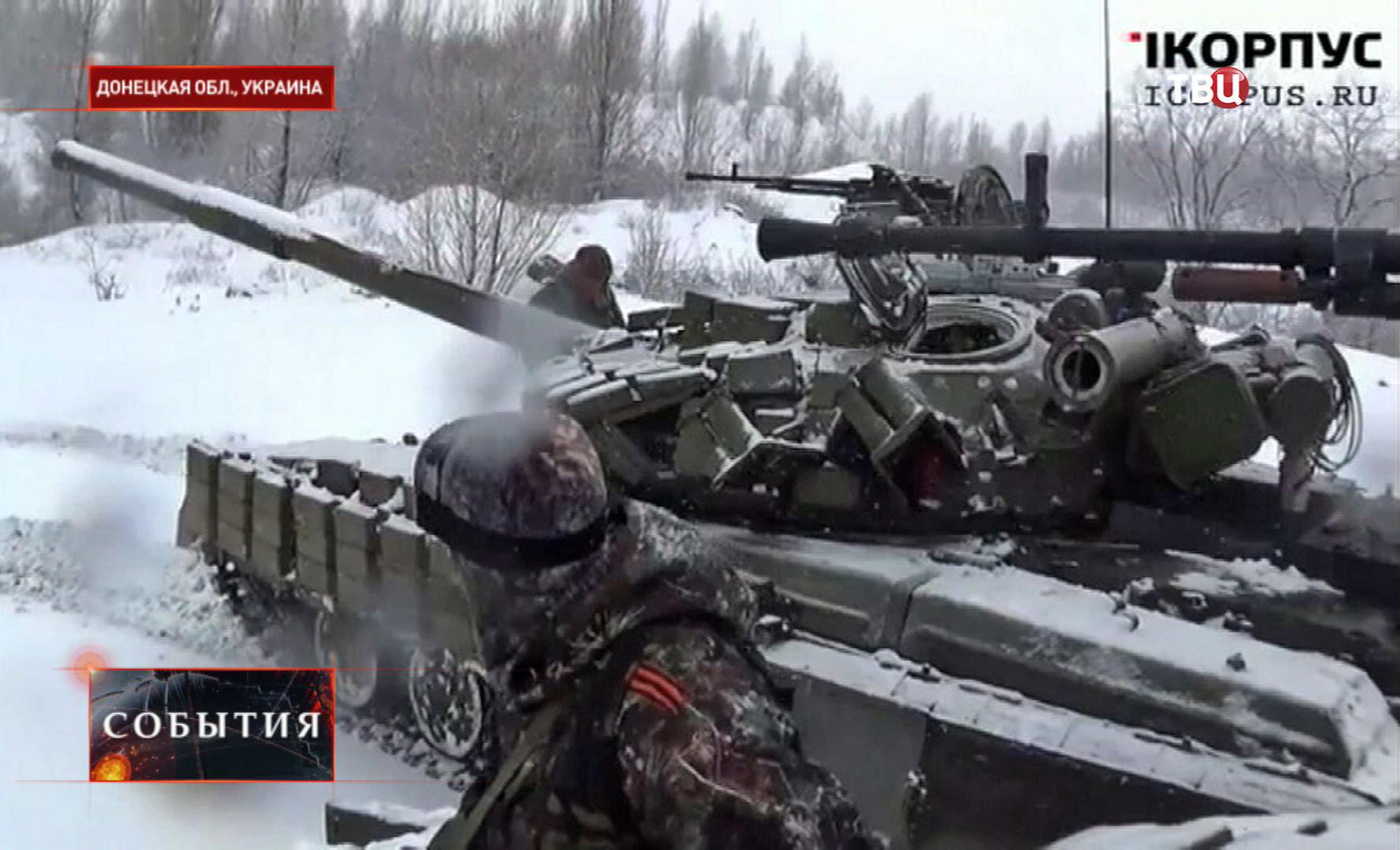Бойцы народного ополчения ДНР в Донецкой области