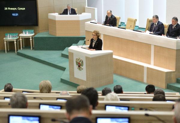 Председатель Совета Федерации Федерального Собрания РФ Валентина Матвиенко во время заседания Совета Федерации
