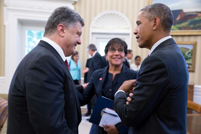 Президент США Барак Обама и глава Украины Петр Порошенко в Белом Доме