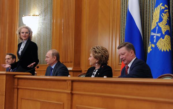 Президент России Владимир Путин  во время расширенного заседания Коллегии Счетной палаты РФ