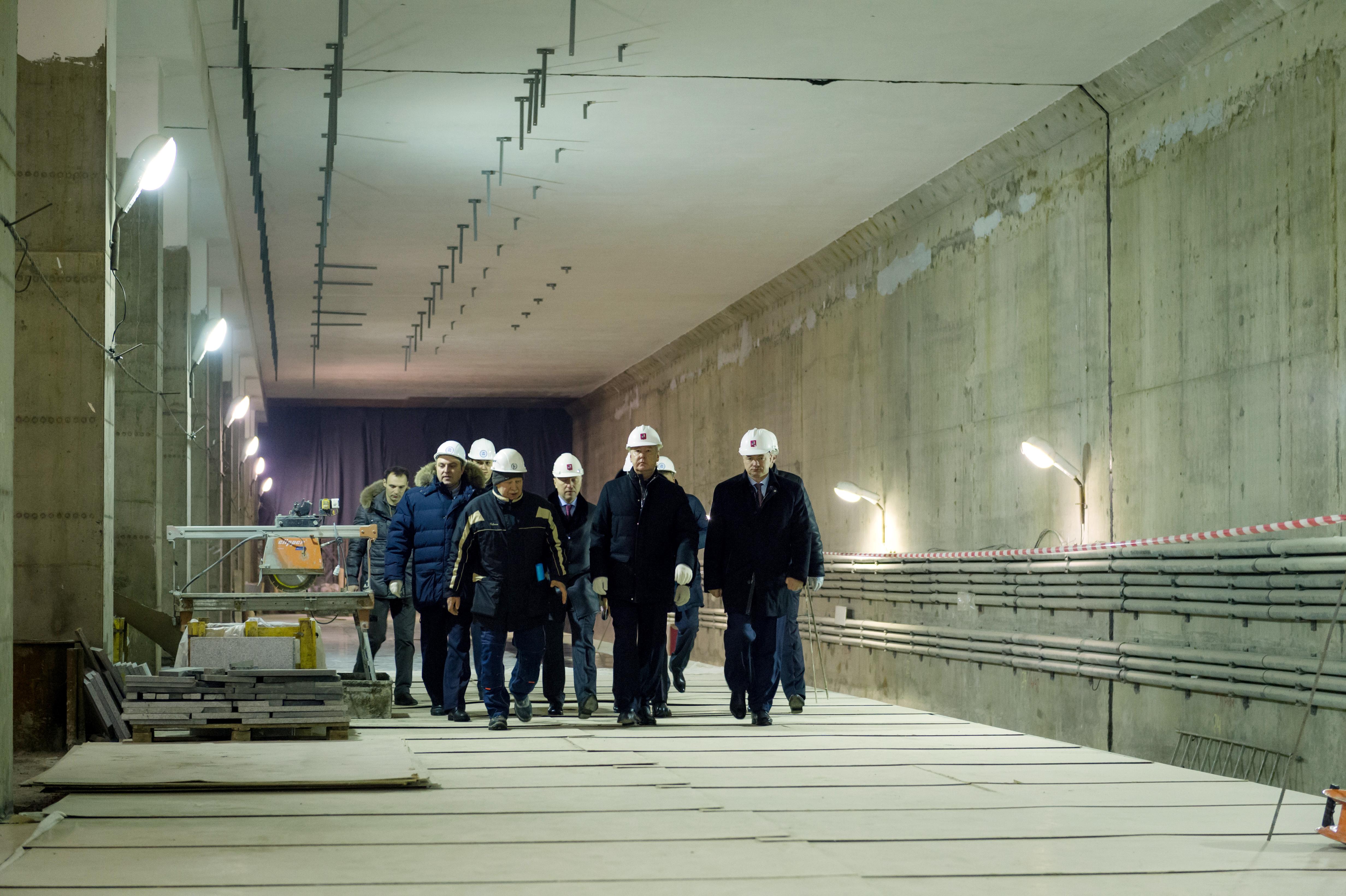 Осмотр хода строительства станции «Ломоносовский проспект»