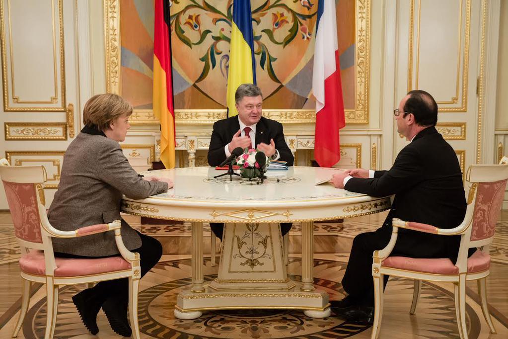 Ангела Меркель, Петр Порошенко и Франсуа Олланд (слева направо)