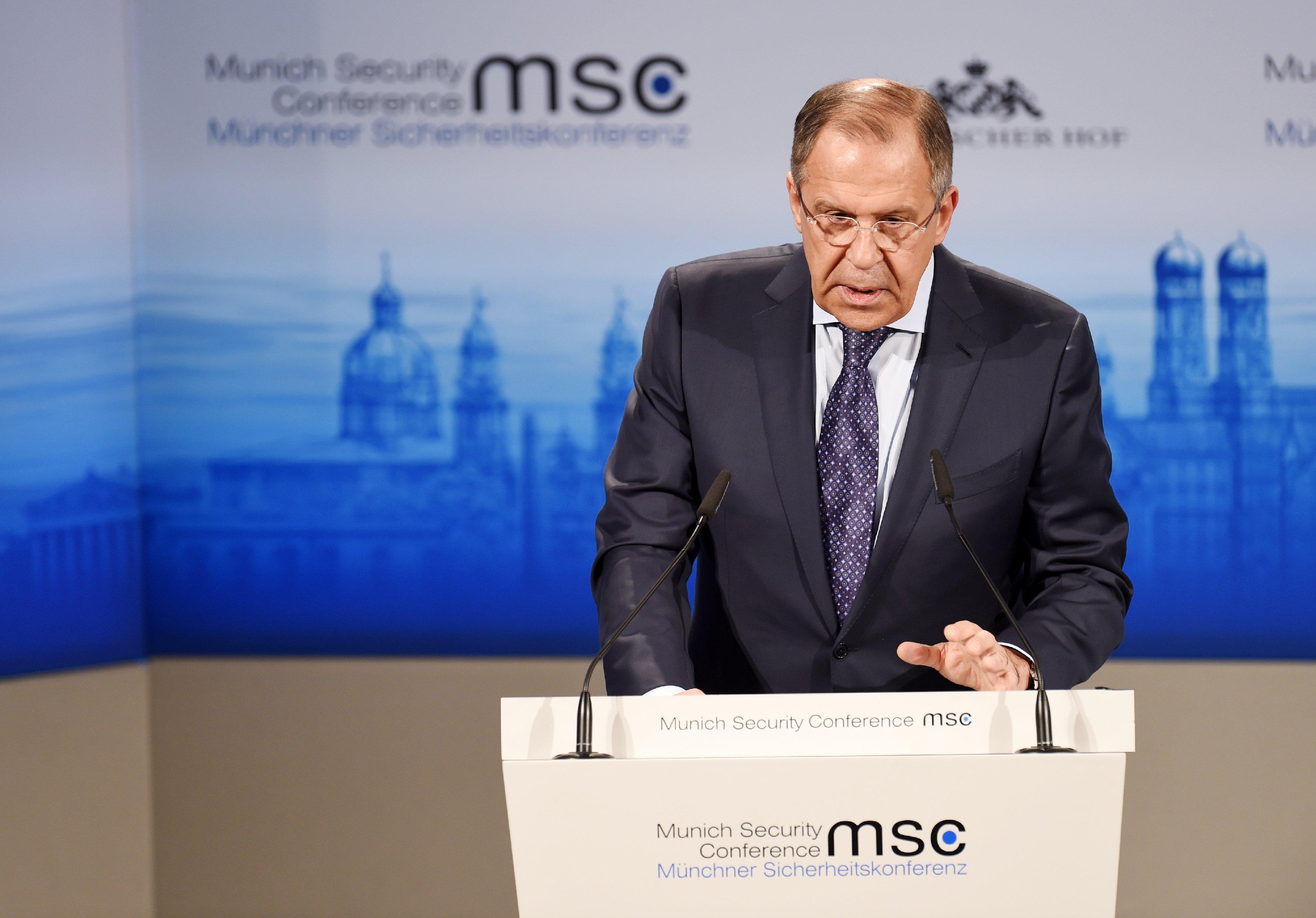 Сергей Лавров во время конференции по безопасности в Мюнхене