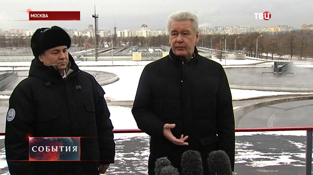 Сергей Собянин осматривает очистные сооружения на юго-востоке Москвы