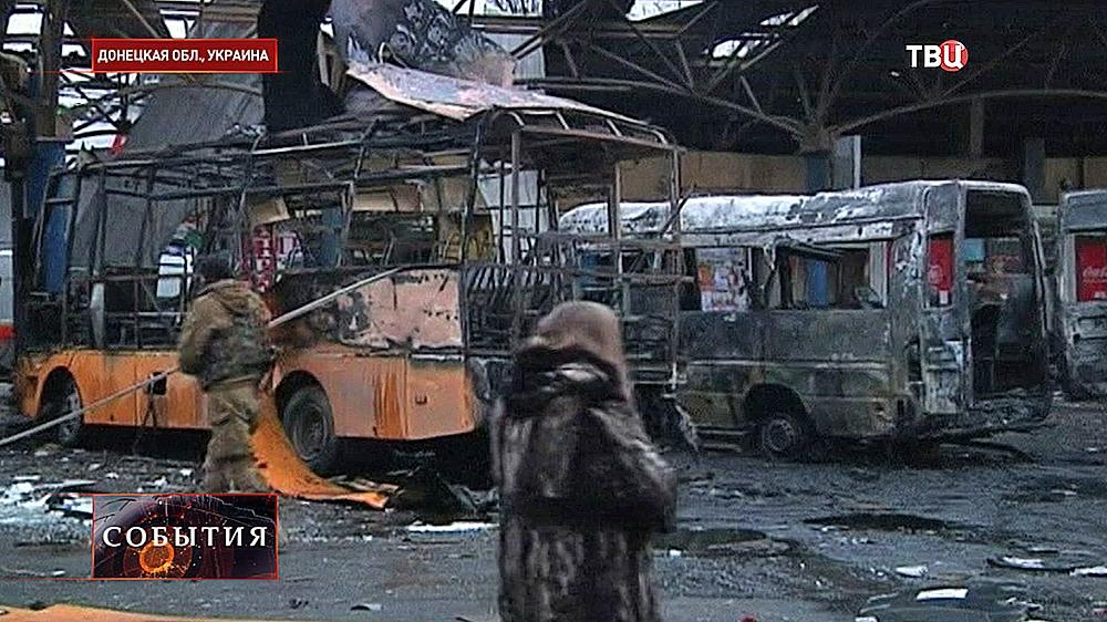 Последствия артобстрела в Донецке