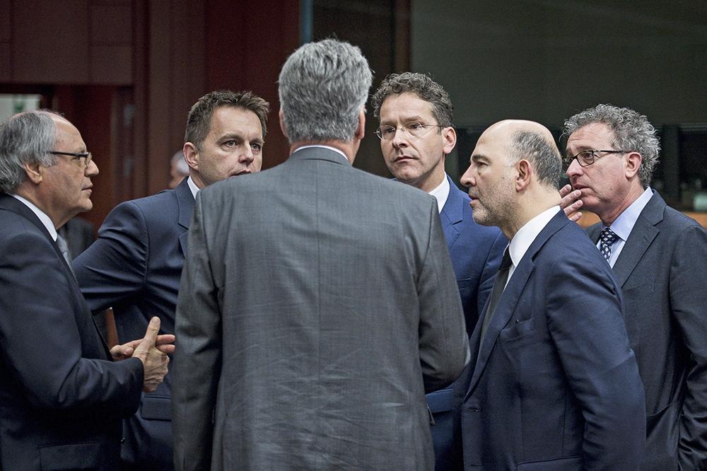 Министры финансов Еврогруппы на заседании Европейского совета в Брюсселе