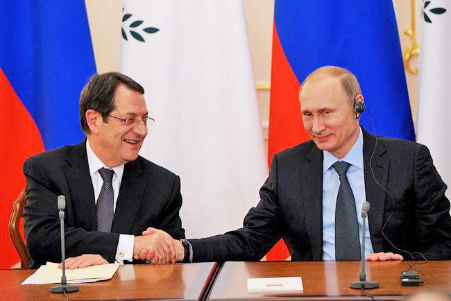 Президент России Владимир Путин и президент Республики Кипр Никос Анастасиадис