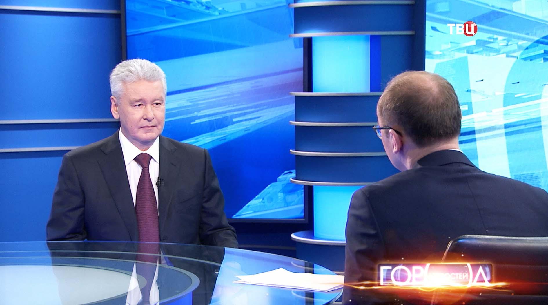 Мэр Москвы Сергей Собянин во время интервью