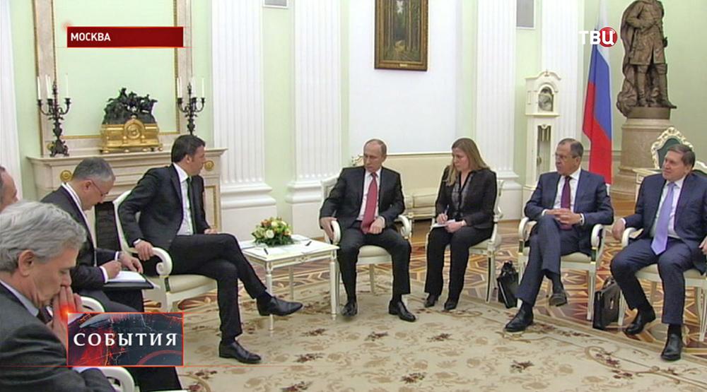 Владимир Путин и премьер-министр Италии Маттео Ренци на встречи