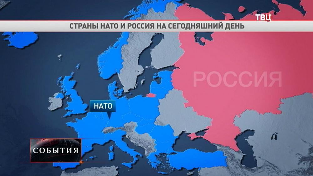 Карта стран НАТО и России