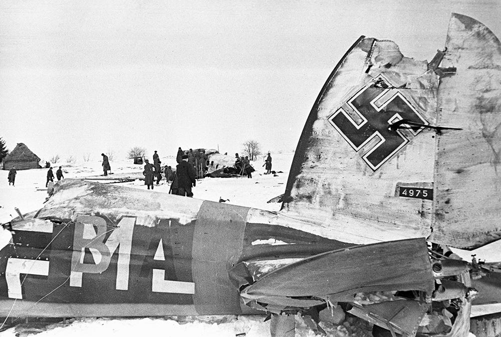 Сбитый самолет немецкой армии