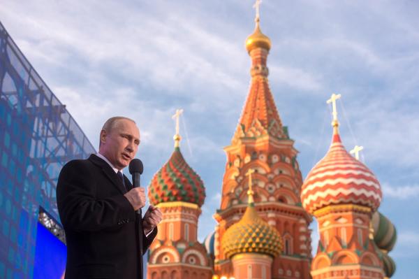 """Президент России Владимир Путин выступает на митинге-концерте """"Мы вместе!"""""""