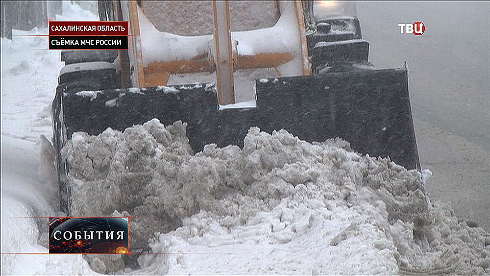 Снегопад в Сахалинской области