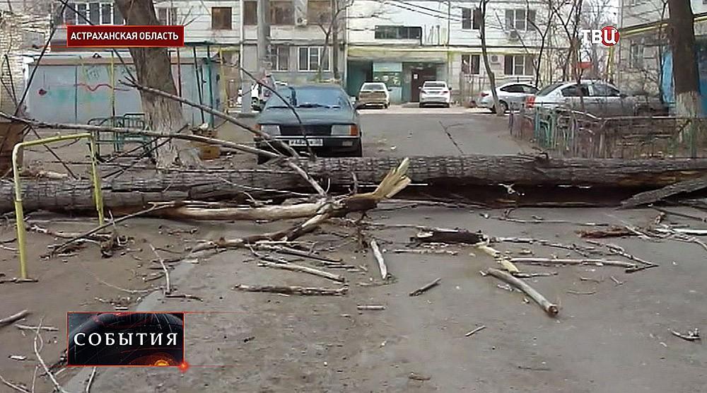 Последствия сильного ветра в Астраханской области