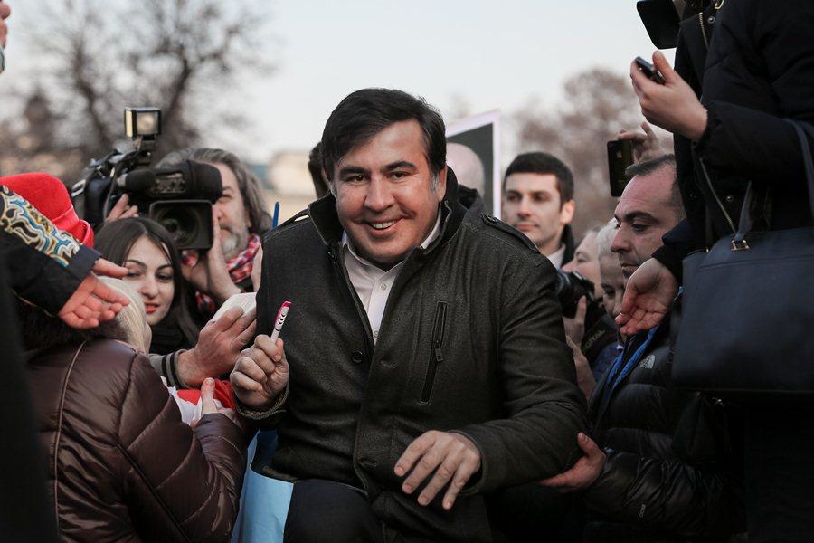 ЭКс-президент Грузии Михаил Саакашвили на митинге в Киеве